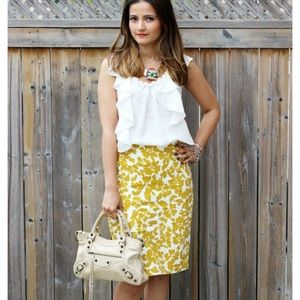 EUC LOFT Golden Yellow Print Pencil Skirt
